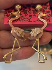 Betsey Johnson Pink FLAMINGOS Acrylic & Crystal Gold Tone Dangle Studs Earrings