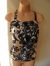 MARKS & SPENCER BLACK & CREAM SILKY EVENING TOP SIZE 12 NEW