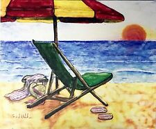Red Yellow Umbrella by Todd Walk Seascape Beach Giclee Print On Canvas 10x12
