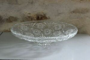 Antique Flat Round - Cup To Fruit - Flowers Reliefs - Glass Thick