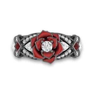 Disney Enchanted Vintage Rose Shape Wedding Ring For Women In Solid 925 Silver