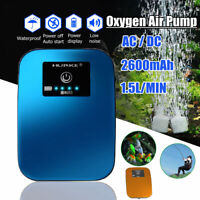 AC/DC Hybrid Silent Aquarium Oxygen Air Pump Fish Tank Air Compressor Aerator