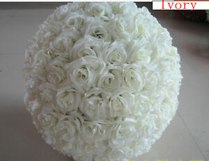 Ivory Rose Flower Ball  Wedding Decorating Kissing Ball 6 Inches
