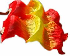 2017 Hand Made Belly Dance Silk Bamboo Fan Veils Red Yellow Red