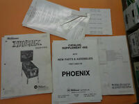 WILLIAMS PINBALL PHOENIX SET   ORIGINAL  arcade game manual
