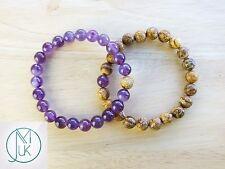 Couple Amethyst/Jasper Natural Gemstone Bracelet 7-8'' Elasticated Healing Stone