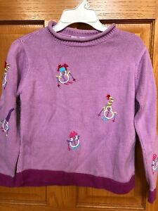 Girls Hanna Andersson lavender snowman sweater size 130 (8) EUC