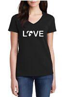 Ladies V-neck Love Dog & Cat T-Shirt Funny Tee Pet Lovers Shirt Birthday Gift