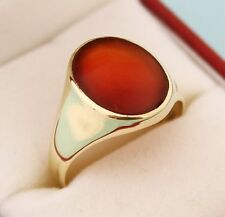 14K Solid Yellow Gold Natural Gem Stone Carnelian Men's Ring Us Size 7 8 9 10