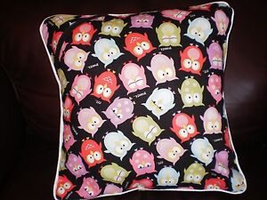 "Owl Pillow Cover Pastel Owlets 12"" Square Reversible White Piping New"