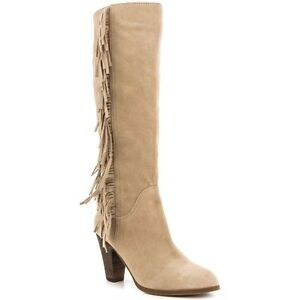 GUESS Women's Migal Fringed Suede Boots, LIGHT NATURAL SUEDE (8 1/2)