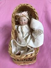 Rare Size 4.5� Bisque Bye Lo In A Basket! Darling