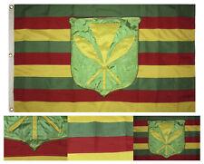 3x5 Embroidered Kanaka Maoli Hawaiin Hawaii Synthetic Cotton 3'x5' w/ 3 Clips