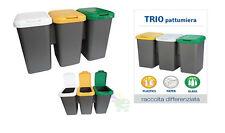 Pattumiera secchio trio set bidone spazzatura raccolta differenziata slim nuovo