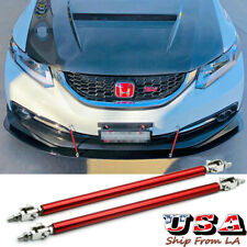 "8""-11"" Red Adjust Front Bumper Lip Splitter Strut Rod Support Tie Bars For Honda"