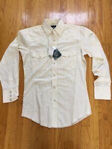 NWT Wrangler Western Shirt Ivory  Pearl Snap Cowboy Long Sleeve S