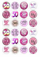 24 50th Birthday Female Wafer / Rice Paper Cupcake Topper Fairy Cake Bun Toppers