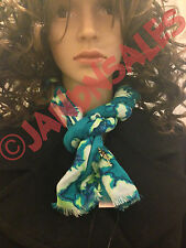 Juicy Couture Blue Washed Hibiscus Print Scarf w/ Palm Tree Charm YTRUS335