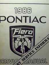 1986 86 Pontiac FIERO Service Shop Repair Manual PRELIMINARY INFORMATION OEM