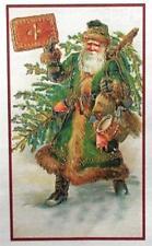 SANTA in GREEN COAT Antique Victorian Christmas Cross Stitch Pattern