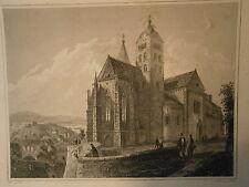 Gravure 19° Alsace Eglise du vieux Brisac