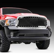 13-17 DODGE RAM Trucks 1500 Front Hood Rivet+Black Mesh Grille+w/ Chrome Shell