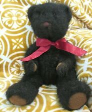 "Dickens Russ Berrie &Co Teddy Bear with Red Bow Dark Brown Fur 15"" Stuffed Plush"