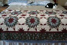 "King/Queen Handmade/Handsewn Quilt~Star Pattern~93"" x 88""~Cream/Red/Green"