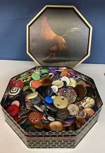 Varied  Vintage Buttons Lot  Over 1 lb Tin Metal celluloid Composition etc