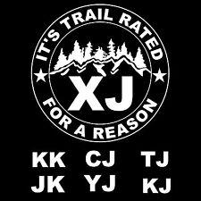 Custom Jeep Trail Rated XJ CJ YJ TJ JK KJ KK Funny 4X4 Vinyl Decal / Sticker
