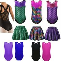 Girl Kids Metallic Leotard Gymnastics Tank Top Ballet Dancewear Tutu Dress Gym