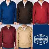 Men's New Stacy Adams Solid Colors Half Zip Mock Neck Pullover Sweater M-3XL