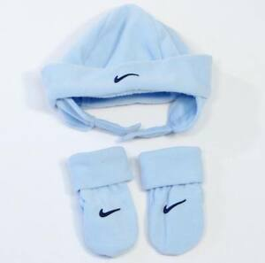 "Nike ""Swoosh"" Blue Fleece Winter Hat & Mittens Set Toddler  2T - 4 T  NWT"