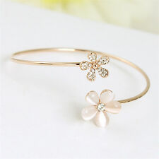 Cat's Eye Daisy Crystal Rhinestone Gold Plated Cuff Bracelet Bangle