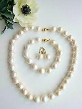 Huge White South Sea Baroque Reborn Keshi Pearl Necklace Bracelet & Earrings Set