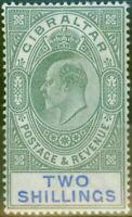 Gibraltar 1903 2s Vert & Bleu SG52 Fin & Frais Légèrement MTD Excellent État (5)