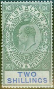 Gibraltar 1903 2s Green & Blue SG52 Fine & Fresh Lightly Mtd Mint (5)