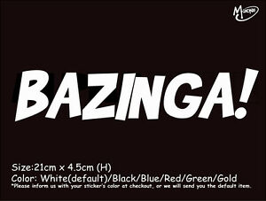 BAZINGA! Reflective Funny Car Stickers JDM Decals Funny Best Present gifts.