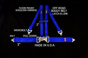 RJS RACING  4 PT LATCH & LINK FLOOR MOUNT HARNESS BUGGY BELT BLUE SAND RAIL