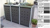 Metall Mülltonnenbox aus Metall Müllbox Mülltonnenschrank 3x240-l-PfD-foliert
