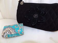 VERA BRADLEY BLACK MICROFIBER WITH CRYSTAL FLOWER & TOTALLY TURQ LIP CASE - NEW