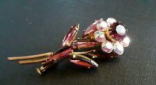 Broche ancienne fleur cristal de bohème irisé métal doré vintage XXème