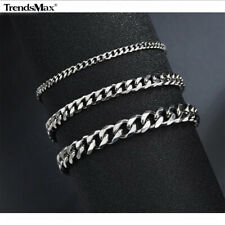 Link Anklet Bracelet Foot Chain Jewelry 3-7mm Silver Stainless Steel Curb Cuban