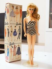 1993 Barbie #850 Reproduction 1958 Blonde Hair Striped Bathing Suit WITH Box