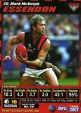 2007 MARK MCVEIGH - ESSENDON BOMBERS NEW teamcoach CARD reduced