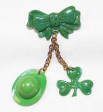 St Patrick's Day Pin Green Plastic Ribbon Clover Hat Irish Brass Chain Vintage
