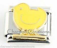 Yellow Chick Farm Chicken Hen 9mm Italian Charm Stainless Steel Modular Link