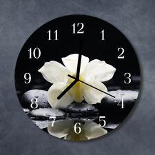 Glass Wall Clock Kitchen Clocks 30 cm round silent Orchid Stones Grey