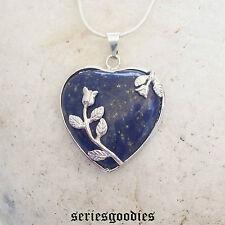 Collier Pendentif Pierre Naturelle Coeur et Fleurs Lapis lazuli Lithothérapie