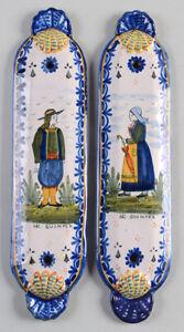 Pair of FAIENCE Door Push Plates HR QUIMPER Circa 1920